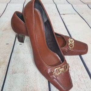 Etienne Aigner Hadley Square Toe Leather Heels